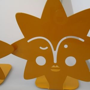 4 Yellow star face bookends Vibrant colorful decor